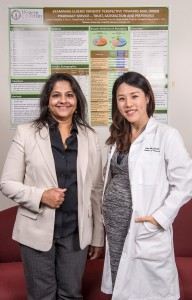 College of Pharmacy Department of Pharmacy Practice and Administration Chair and Professor Anandi Law, BPharm, PhD, left, with her fellow, Yuna Bae, PharmD. The ACCP Board of Regents and the ACCP Research Fellowship Program Peer Review Committee re-certified Law's Fellowship in Health Outcomes for a full five years. (Jeff Malet, WesternU)