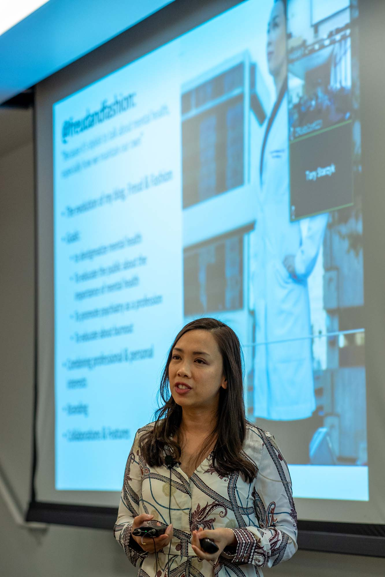 WesternU students in the Club of Psychiatry Enthusists (COPE) invited COMP alumna Vania Manipod, DO '08,  to speak to WesternU students on the subject of social media, mental health and health care.