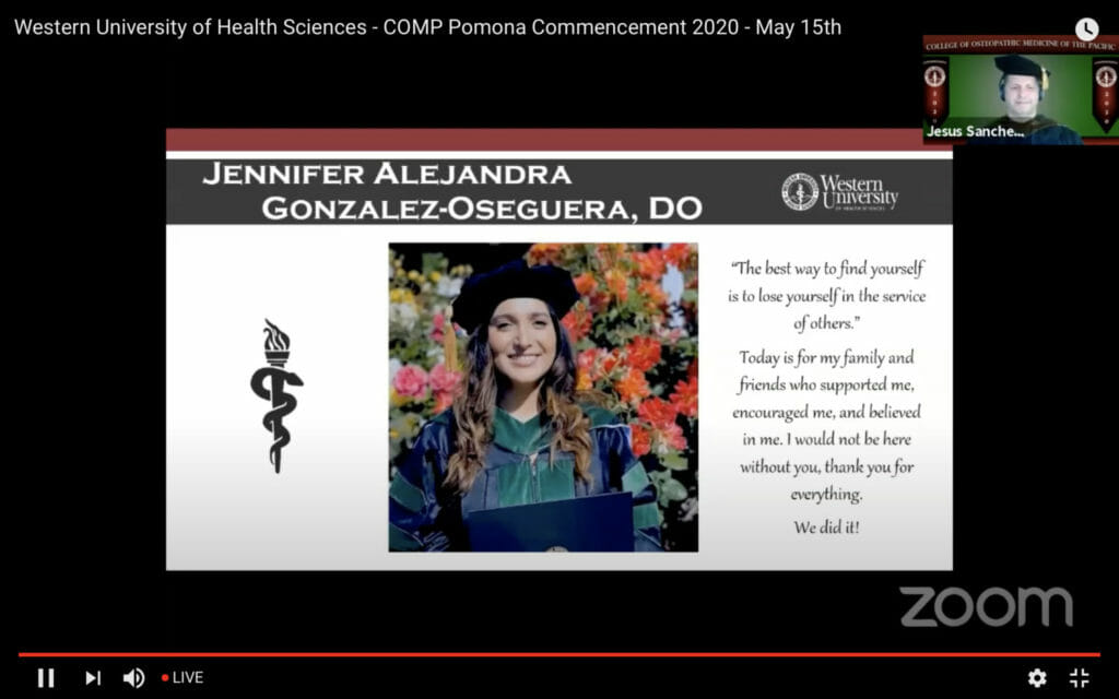 A photo and quote from COMP graduate Jennifer Alejandra Gonzalez-Oseguera, DO '20.
