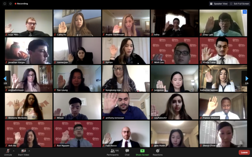 Screenshot of WesternU College of Pharmacy Class of 2020 graduates reciting the Pharmacist's Oath on Zoom on May 13, 2020.