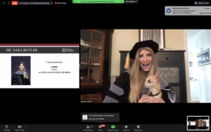 Screenshot of College of Veterinary Medicine graduate Sara Butler, DVM '20, celebrates Commencement on May 14, 2020.