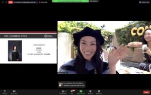Screenshot of CVM graduate Jasmine Choi, DVM '20, celebrates Commencement outside.